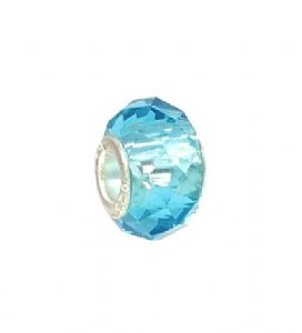 Aqua Blue Crystal - Slide On & Off Bracelet Bead Charms - Fit Pandora Charms Bracelet
